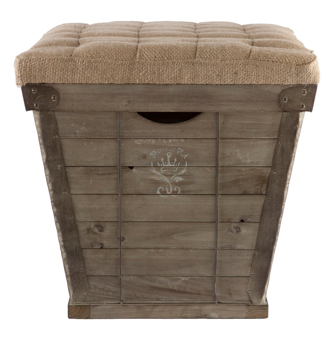 Amazon.com: French Country White Lettering Long Storage Crate Burlap Ottoman:  Kitchen & Dining - Amazon.com: French Country White Lettering Long Storage Crate