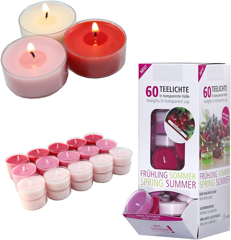 Smart-Planet/® Ambiente Lot de 60 Bougies Chauffe-Plat dans Un Distributeur de Cerises Sauvages Transparent 4 Heures de Combustion