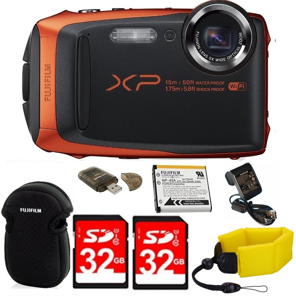 Fujifilm FinePix XP90 Shock & Waterproof Wi-Fi Digital Camera (Orange) in White Promotional Packaging (Non-Retail) with 64GB Card + Battery & Charger + Floating Strap + Memory Card Reader + More! by DigiDeals4Less
