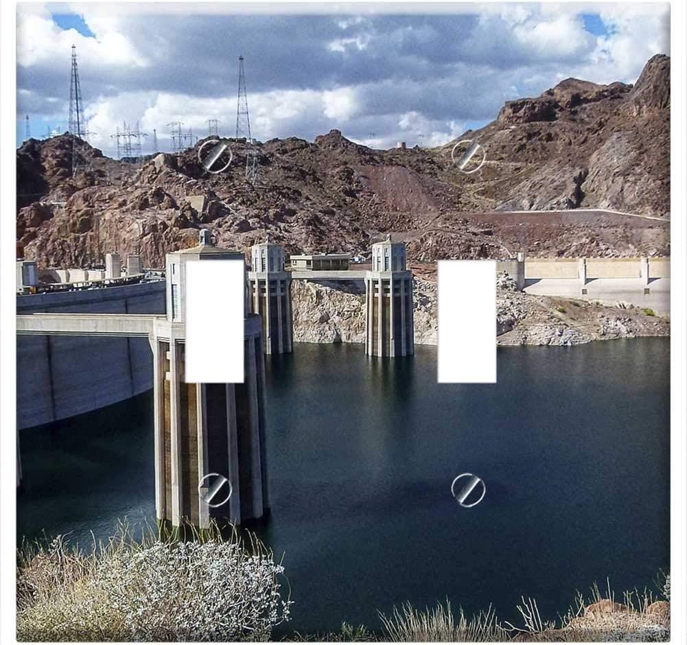 Lake Mead Reservoir Hoover Dam Nevada Concrete -Double Toggle Switch Plate