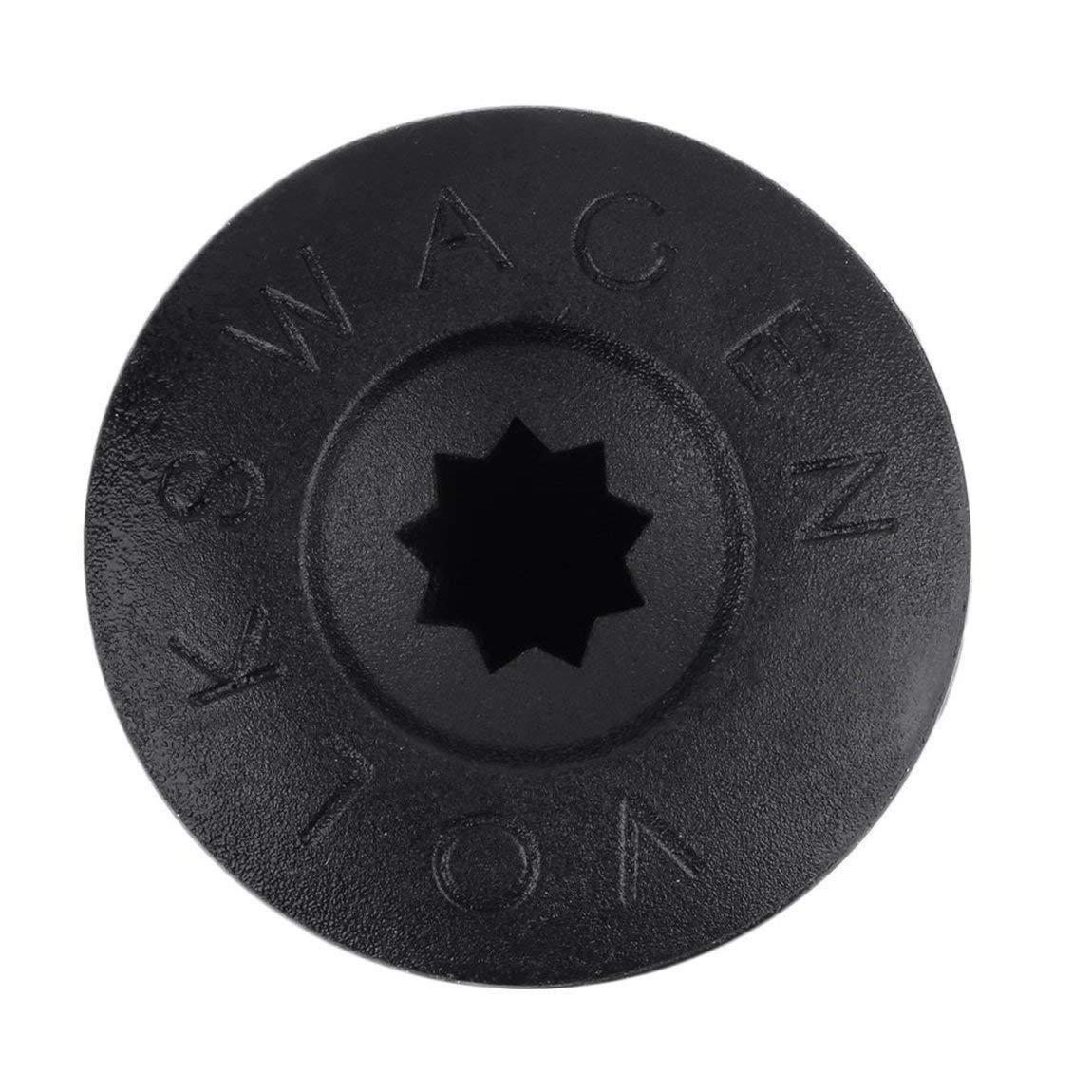 73JohnPol 20Pcs ABS Pl/ástico Veh/ículo Tuerca Auto Perno Cubierta Tapa Rueda de Coche Tuerca Perno Cubierta Tapa 17mm Negro Grabado para VW Hub Color: Negro