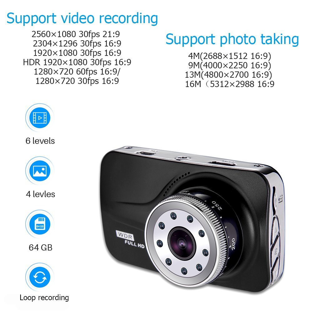 170 Degree Wide Angle Ai/_ODV01 Dash Cam Car Driver Camera Recorder with 3 Inch LCD Screen aiworth Full HD Car Driving Recorder