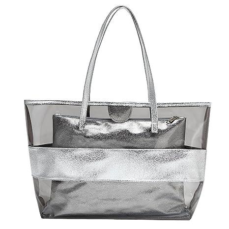d992a0919 Bolso de Playa de PVC Transparente para Mujer, Color Caramelo, diseño de  Rayas semitransparentes