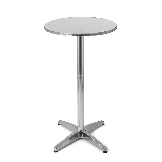 Mesa de bar mesa alta redonda en plata, mesa de aluminio de altura ...