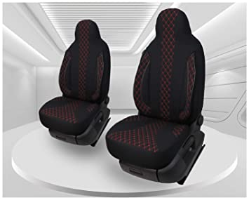 Maß Sitzbezüge Kompatibel Mit Fiat Ducato Typ 250 Bj Ab 2006 Fahrer Beifahrer Fb Pl402 Schwarz Mit Roter Naht Baby