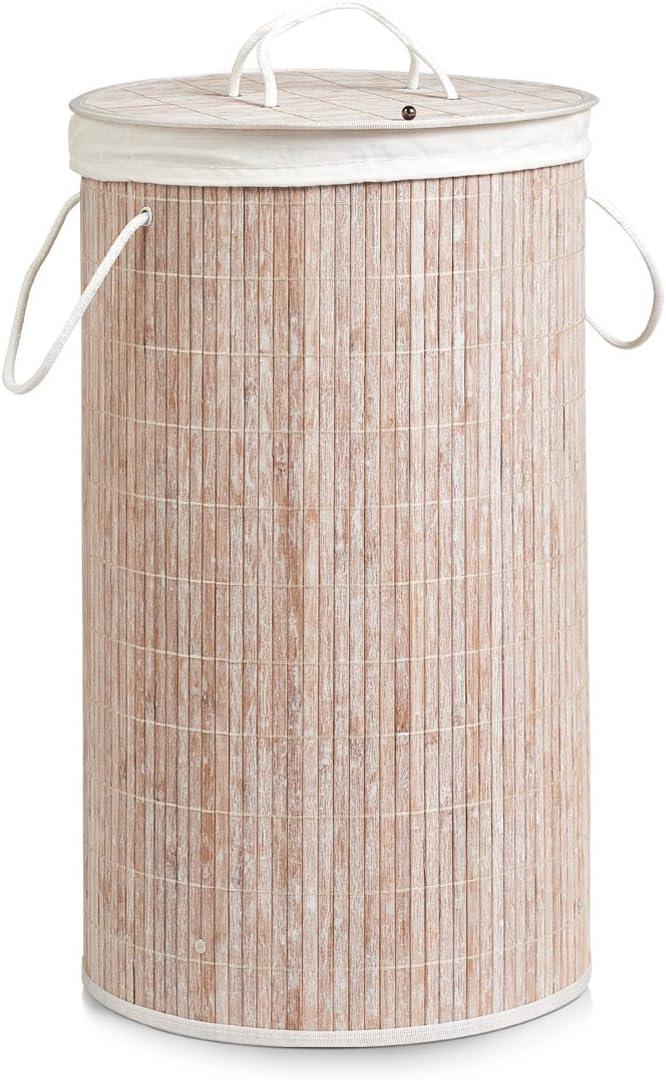 Zeller 13410 cesto portabiancheria in bamb/ù /Ø 35/x 60/cm bianco