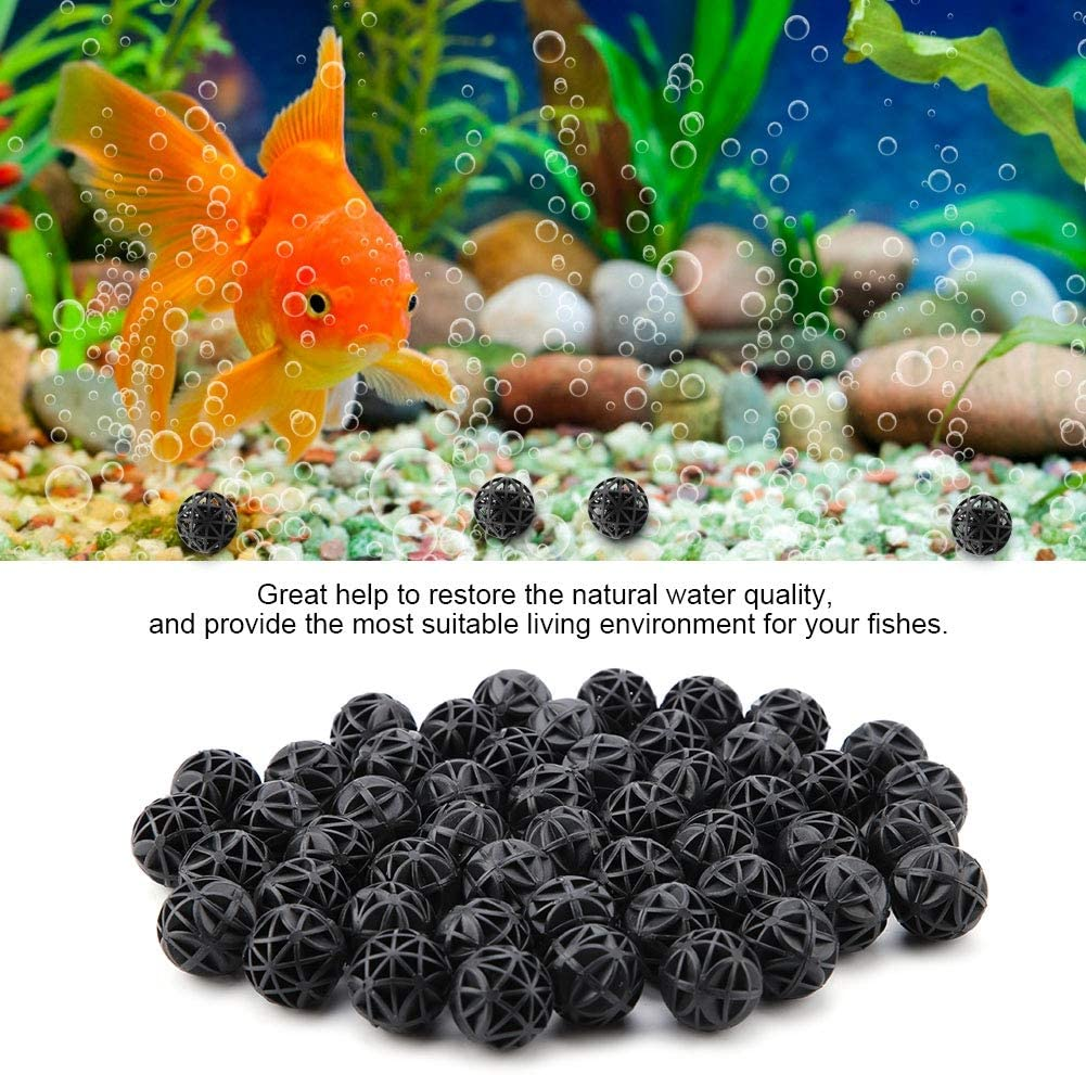 50Pcs Bio Porous Filter Biochemical Ball Filter Media Water Filter Material with Cotton for Fish Tank Pond Aquarium Waterfall Fountain 46mm