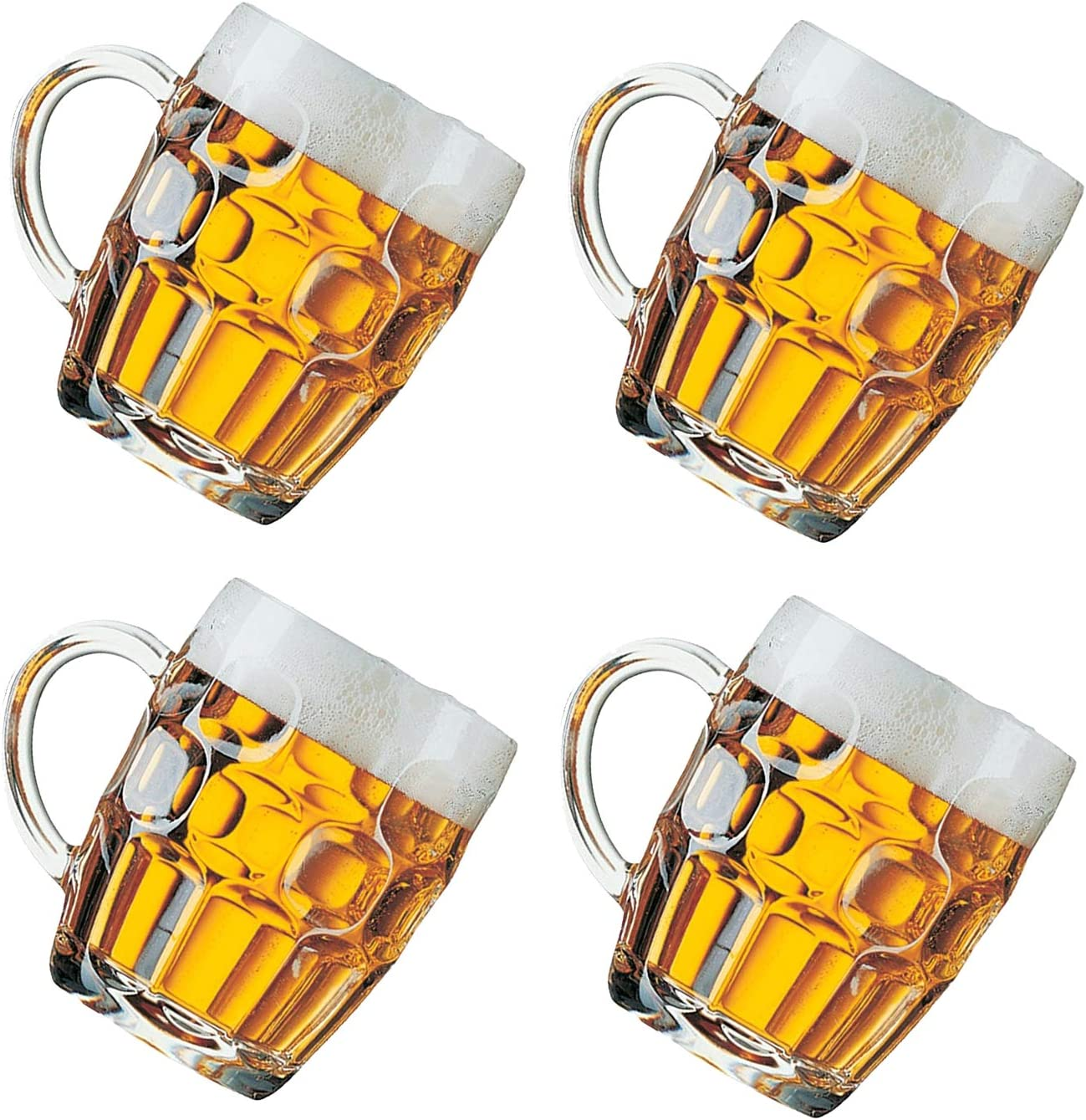 Classic Beer Pint Style Mugs Glass Pot Old Pub Bar Style Tankard Handle Stein Dimple (4)