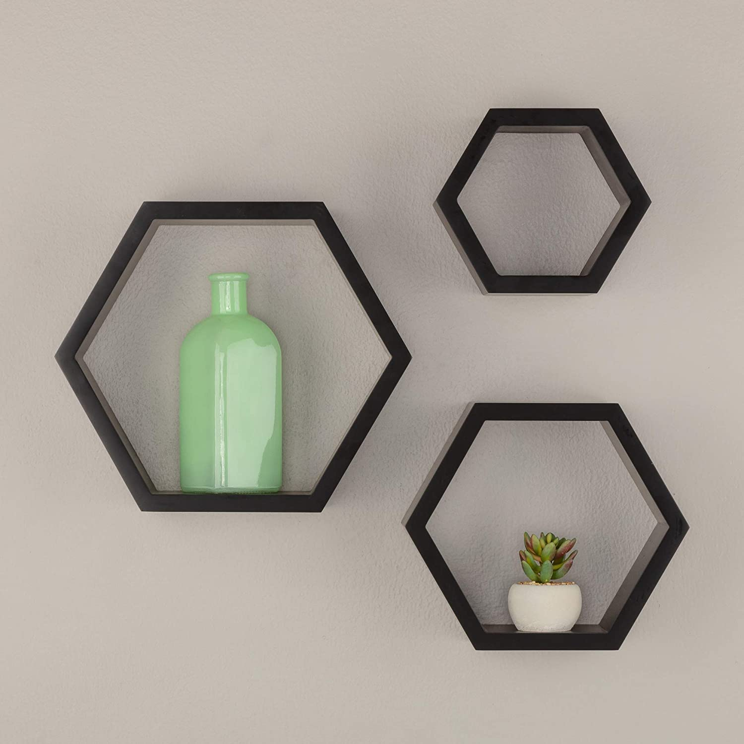 Gallery Solutions Black HexaGallery Geometric Decorative, Set of 3 Wall Mounted Floating Shelves, 3 Count