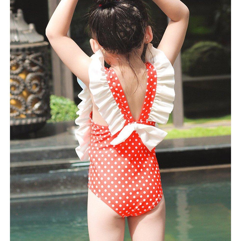 Size : XL FeliciaJuan Beach Sport Banded One Piece Swimsuit Girls Kids Red Polka Dot One-Piece Swimsuit Front Knot Princess Swimwear Bathing Suit