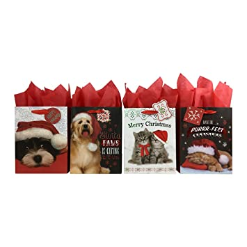 amazon com set of christmas dog and cats gift bags and tissue paper