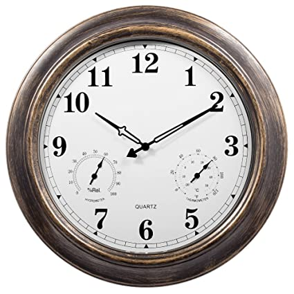 Amazoncom Outdoor Clocks With Thermometer And Hygrometer 18