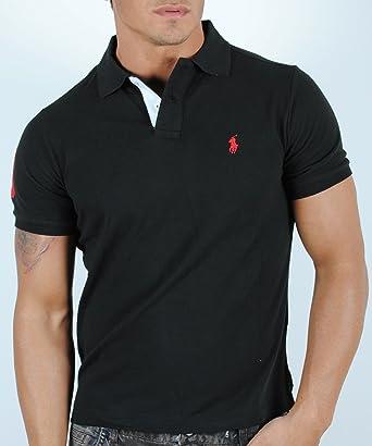 cb563b0ff6b3 Ralph Lauren Poloshirt, schwarz, weißer Kragen, roter Reiter, Größe ...