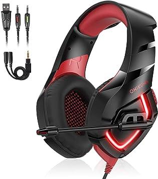 Auriculares Gaming PS4, Cascos Gaming con Micrófono de Mac Estéreo Juego Auriculares Gaming Ajustable con 3.5