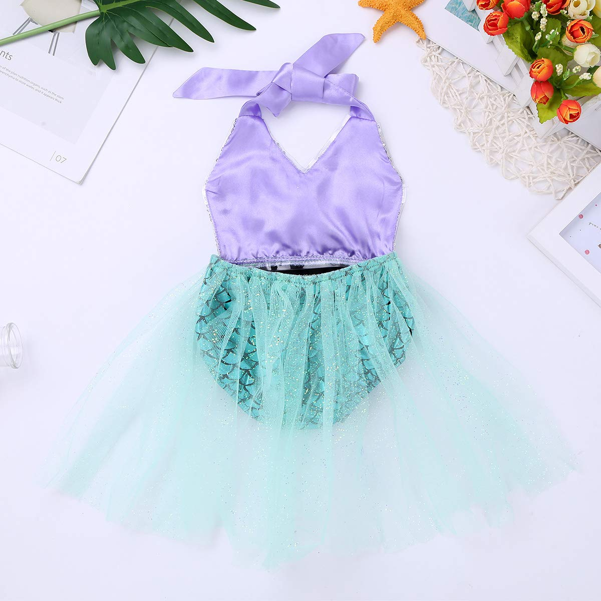 MSemis Infant Baby Girls Shiny Sequins Little Mermaid Tutu Dress Costumes for Halloween Christmas Cosplay Party