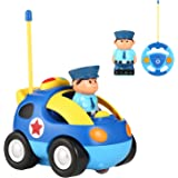 Cartoon Remote Car, 2 Channels R/C Race Car With Lights and Siren, and Safe, Radio Control,Cute and Stylish Fancy Toy Gift for Toddlers, Fit for Home and School Entertainment