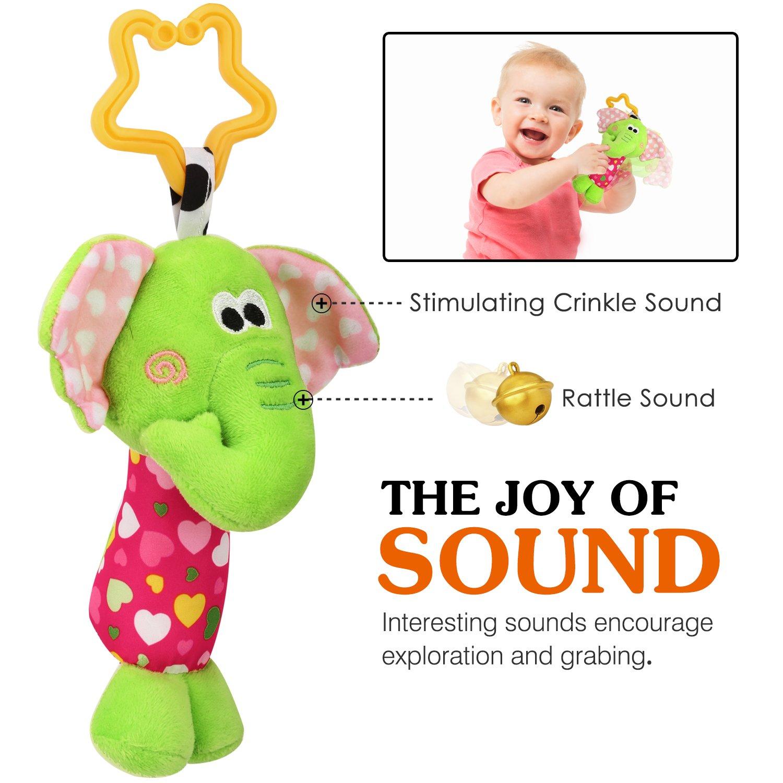 Zooawa Baby Hanging Rattle Toy Soft Stuffed Animals Handbells Stroller Crib Car Seat Hanging Bell for Newborn Children Infant Elephant