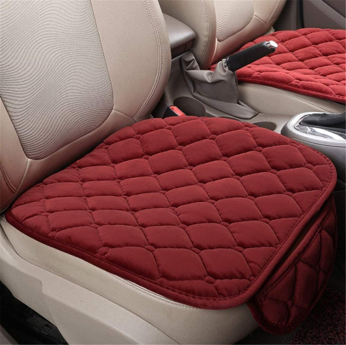Fochutech Car Front Seat Cover Pad Mat Cushion Universal Fit Breathable Blanket Nonslip Auto Truck Office Plush Rhombus (Red)
