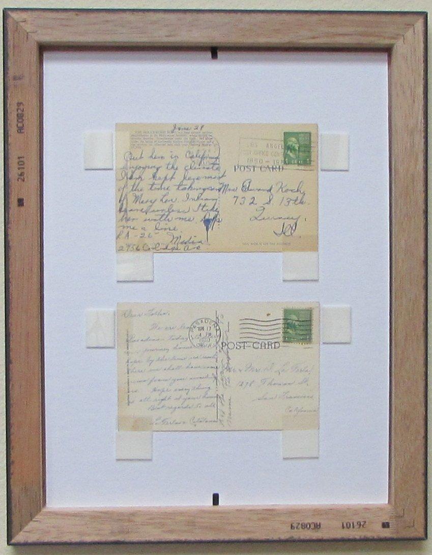 amazoncom postcard frame for three 3 35 x 55 postcards or photos white white trim matting