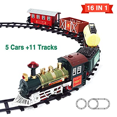 Kimiangel 2020 New Eddition 16 in 1 Train Sets with 11 Classic Electric Toy Tracks Sets + 5 Cars, Lights and Sounds Train Toys Gifts for Kids Boys Girls: Toys & Games