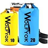 20L / 10L Dry Bag - Wolfyok Roll Top Waterproof Floating Duffle Dry Gear Bag with Adjustable Shoulder Straps for Boating / Kayaking / Fishing / Rafting / Camping / Canoeing / Snowboarding