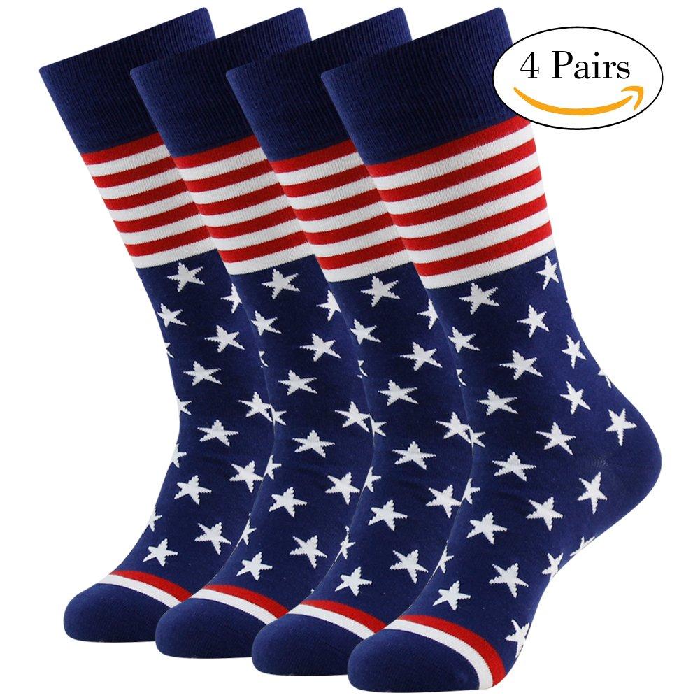 American Flag Dress Socks, LANDUNCIAGA Mid Calf Dress Socks Patriotic Boots Sock 4 Pairs,Novelty Wedding Socks Cotton Socks Mens Mid Calf Cool Design Socks