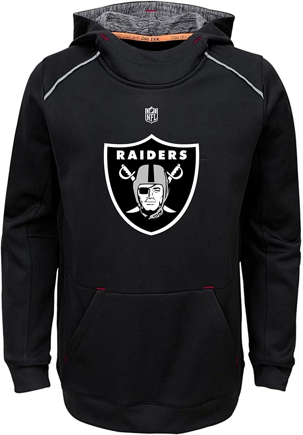 Small 8, Oakland Raiders OuterStuff NFL Youth Performance Team Color Pinnacle Primary Logo Pullover Sweatshirt Hoodie