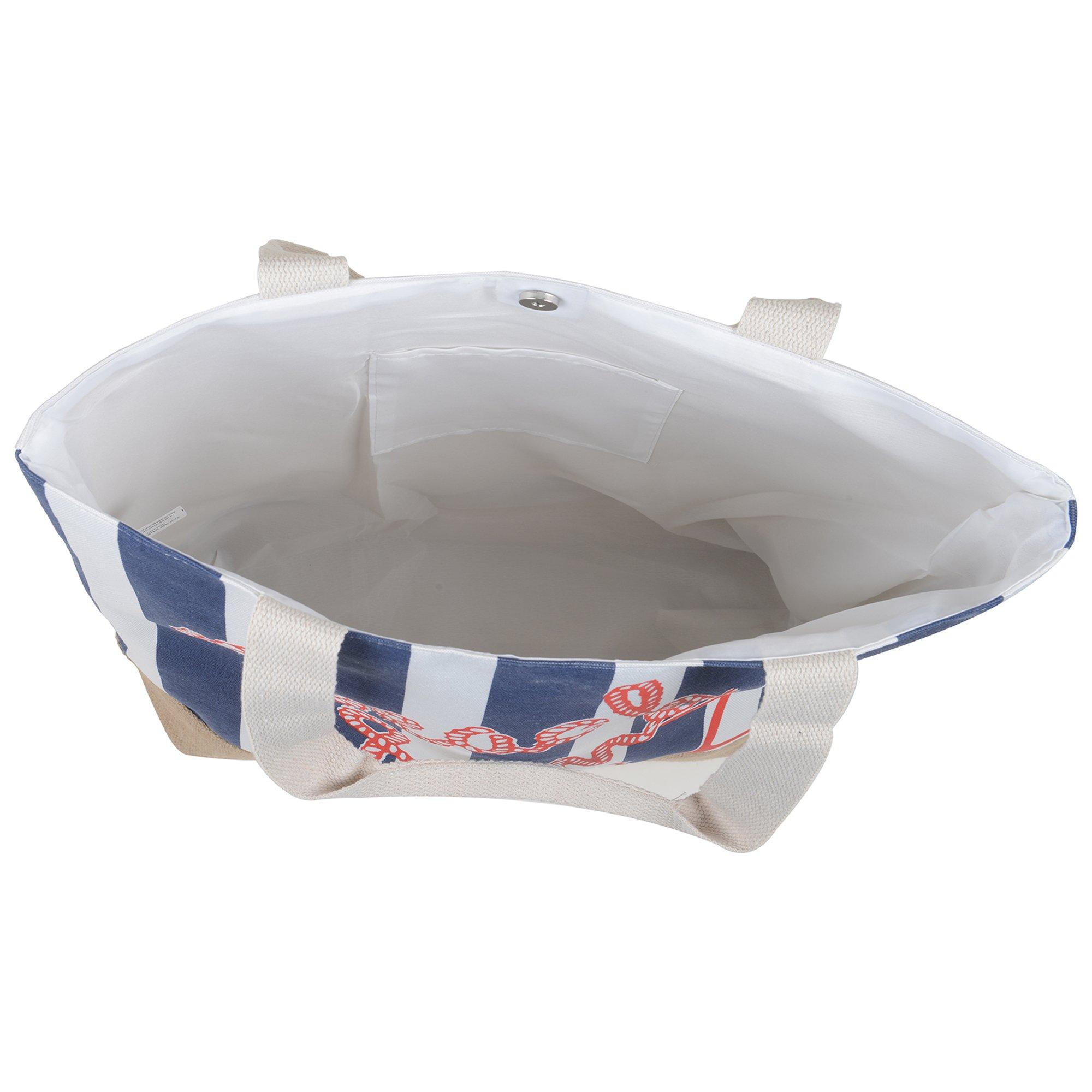 Canvas Burlap Beach & Me Printed Cotton Heavy Shoulder Straps Premium Women Tote Bag by BB (Navy Blue) by BB (Image #4)