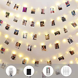 Innotree Fairy Lights USB Plug in, 33Ft 100 LED Copper Wire Photo Clip String Lights with 50 Clips for Hanging Pictures, Perfect Dorm Bedroom Indoor Party Wedding Decoration, Warm White
