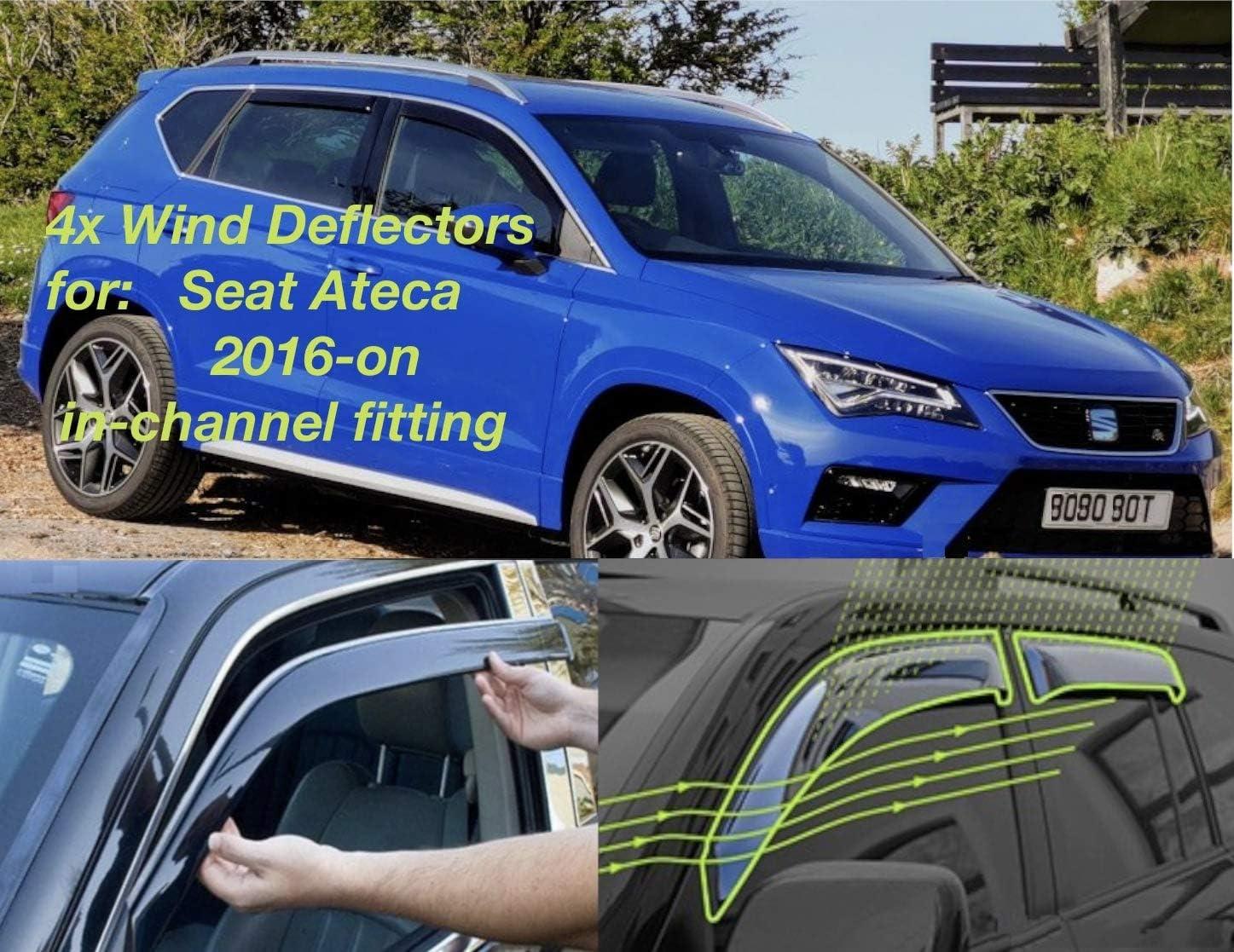 Windabweiser Für Seat Ateca 2016 2017 2018 2019 2020 2021 2022 Seitentür Fenster Regenschutz Sonnenblende Acrylglas Pmma Auto