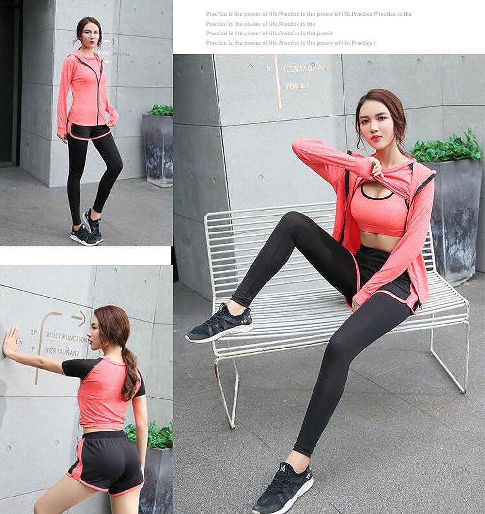 Zetiy Damen 5er-Set Strech Tights Sport Yoga Trainingsanzug