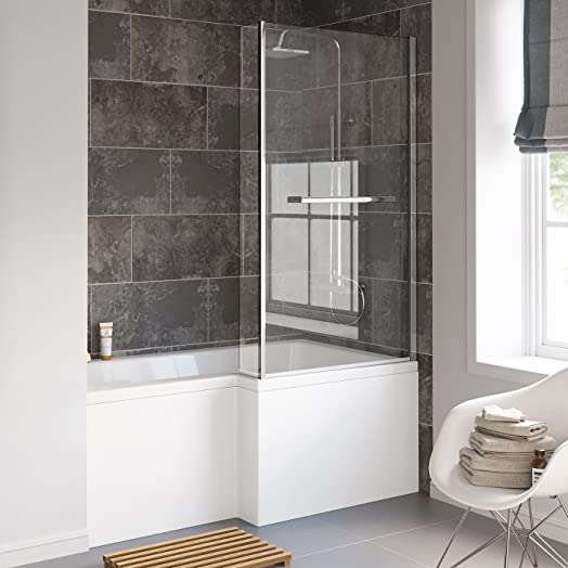 1500 Mm Right Hand L Shaped Straight Shower Bath With Screen Side