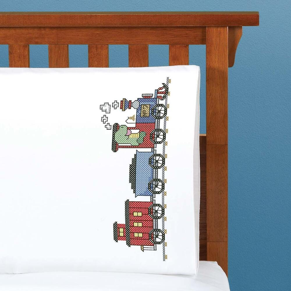 Herrschners® All Aboard Kid's Pillowcase Stamped Cross-Stitch Kit