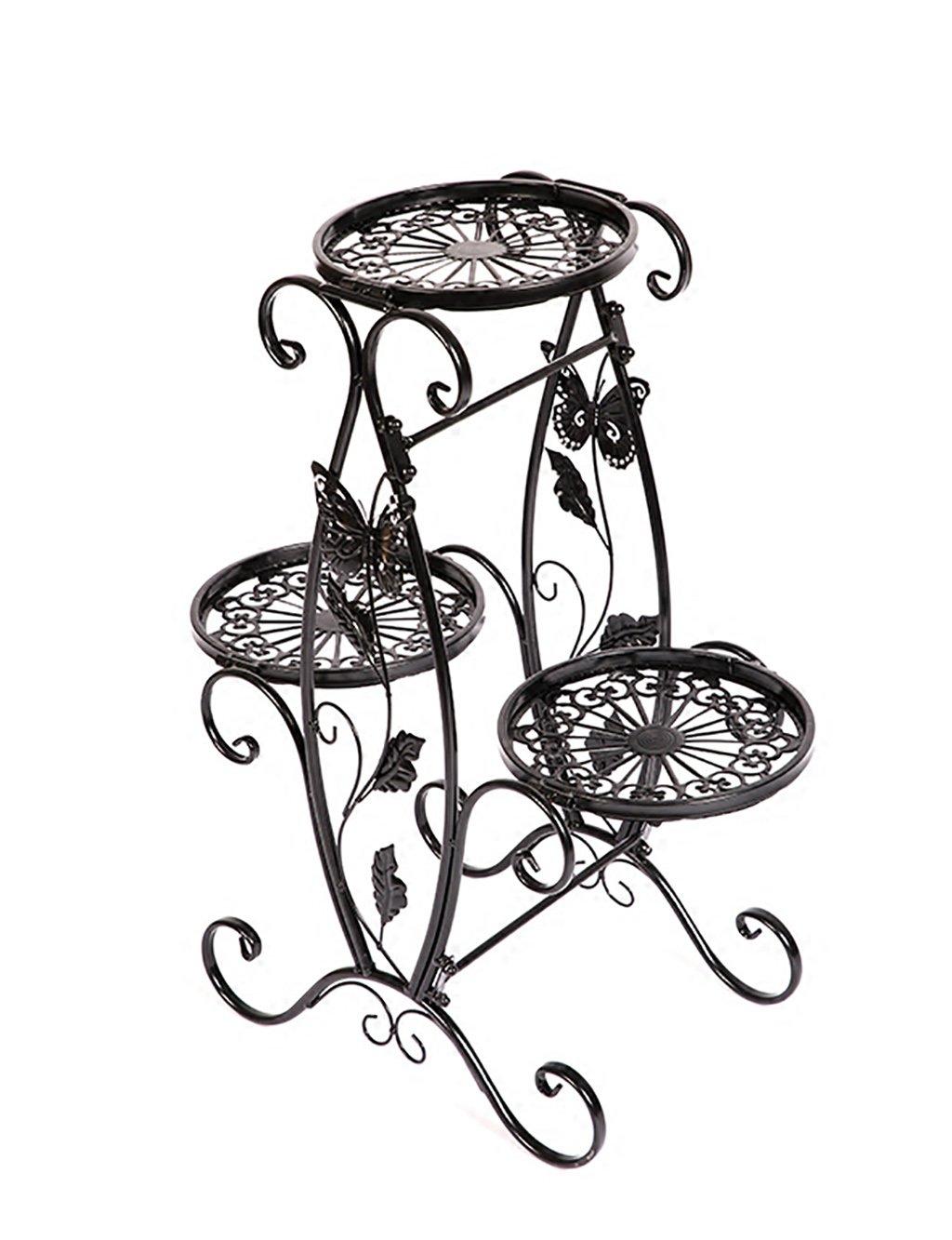 XUEWENZHE Blumenständer Europäische Art-Eisen-Blumen-Zahnstange Einzelnes Schicht-Blumen-Zahnstange-Fußboden-Art Blumen-Zahnstange Balkon-Fußboden-Pflanzer-Regal-einfaches modernes Wohnzimmer-Innenblumen-Zahnstange Verschiedene Gartenregal ( farbe : A )