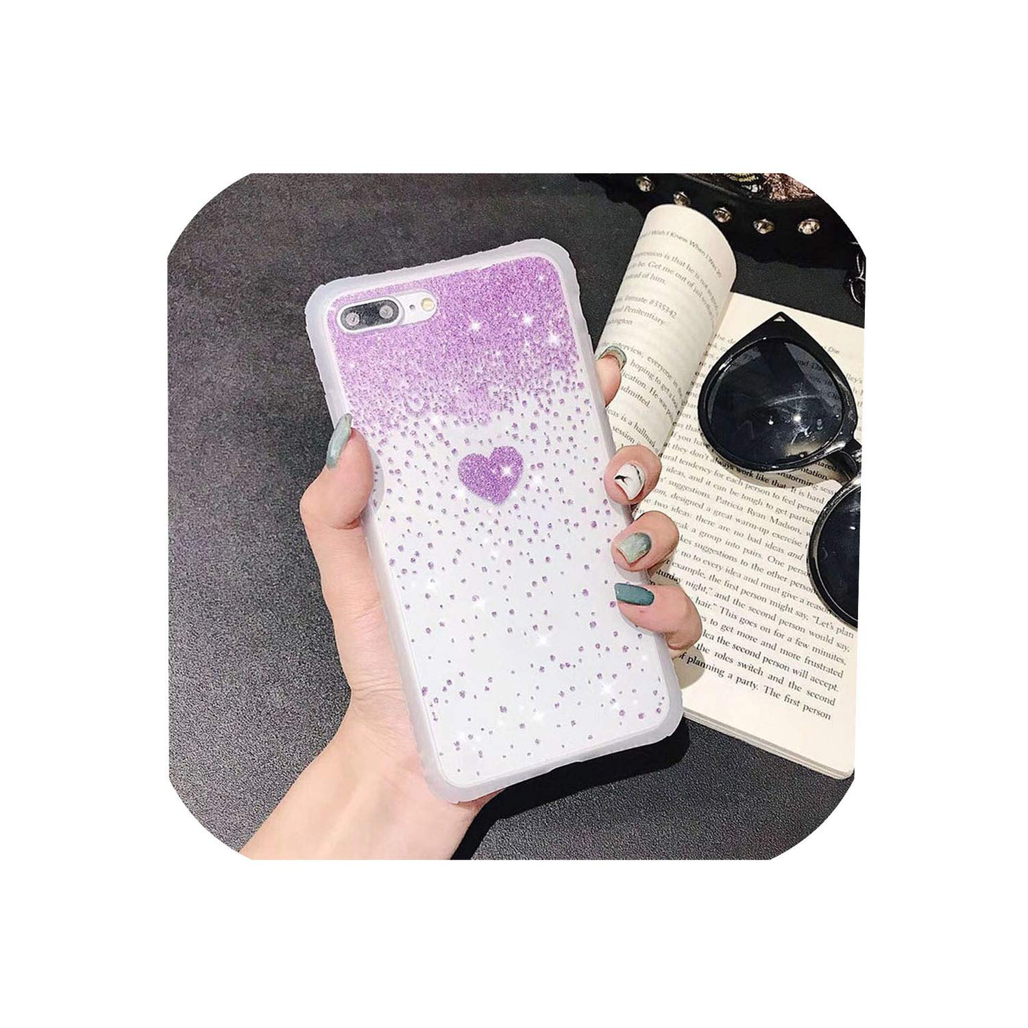 ZSweet Shining Glitter Cute Love Heart Pattern Transparent Phone Case for iPhone X XS XR XS Max 6 6S 7 8 Plus Clear Bling Back Covers,for iPhone Xs Max,T2 Purple
