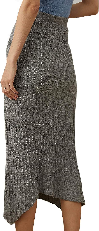 여자를 위한 BLANSIC 뜨개질을 한 치마 높은 허리 우아한 뻗기 긴 치마