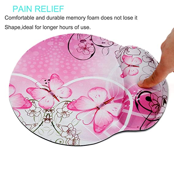 Nice Butterfly RICHEN Memory Foam Mouse Pad with Wrist Support,Ergonomic Mouse Pad with Wrist Rest,Non-Slip Rubber Base for Computer Laptop /& Mac,Lightweight Rest for Home,Office /& Travel