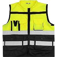 ShyaWorld Chaleco Reflectante de Seguridad Adulto Trabajo con bolsillos de Alta Visibilidad. Cintas Reflectivas y…