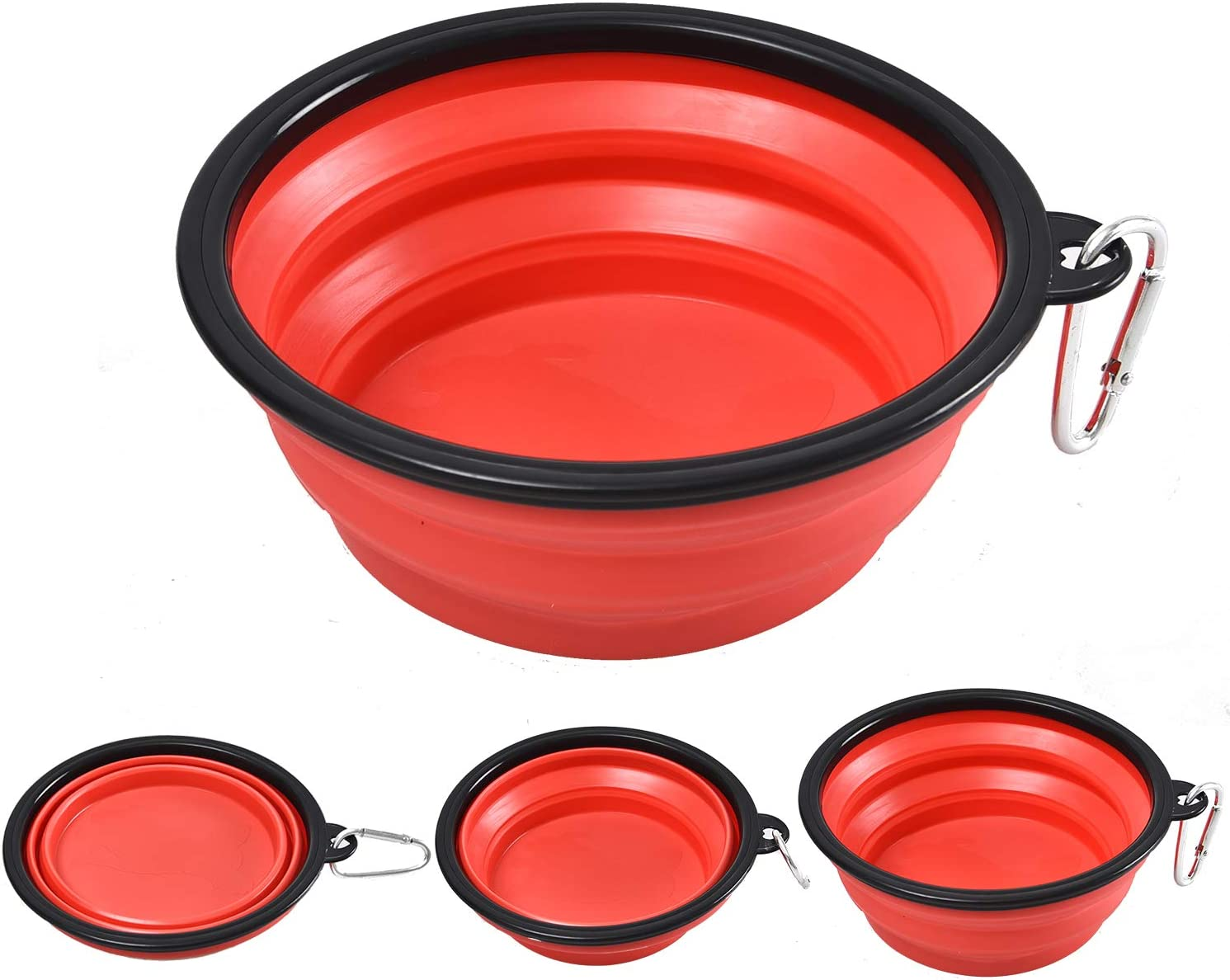 BUDDING Collapsible Dog Bowl for Travel – 34 oz (1000 ml) Water & Food Feeding Foldable Bowl – Best for Big, Medium & Small Size Dogs – Silicone Dog Dishes Food Bowl with Carabiner Clip