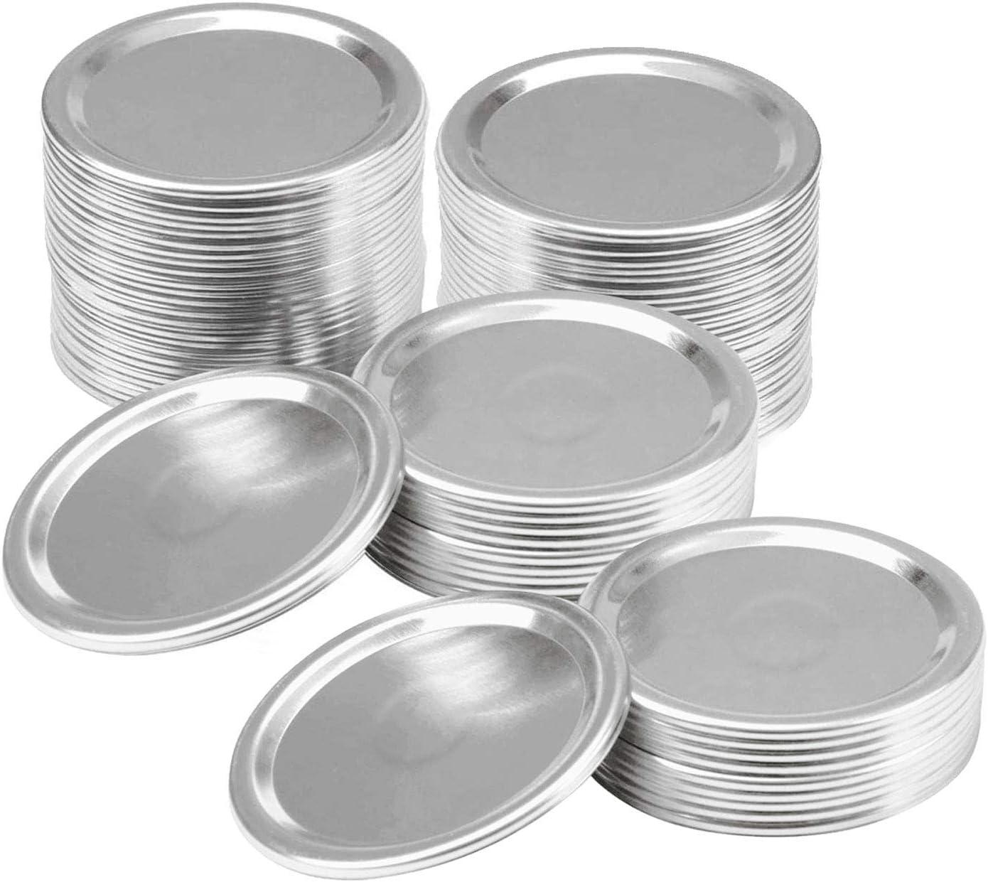 100 Pack Canning Lids Wide Mouth, Mason Jar Split-type Lids Leak Proof and Secure Canning Jar Caps, Metal Flat Sealing Storage Caps (86mm 100)