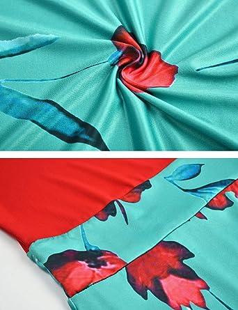 Bestgift Damska Kleid figurbetont Rundhalsausschnitt Blumendruck Gr. X-Small, Short Sleeve Black+green: Odzież