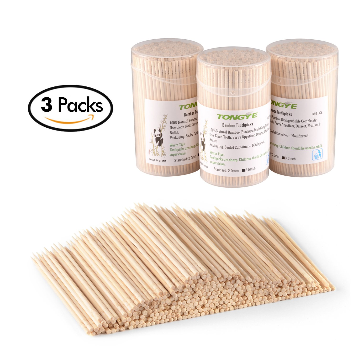 Bamboo Toothpicks 3.5 Inch with Clear Cylinder Holder. Ornate Kokeshi Style Skewers for Party, Appetizer, Olive, Barbecue, Fruit and Teeth Cleaning. 1020 PCS (3 Packs of 340)