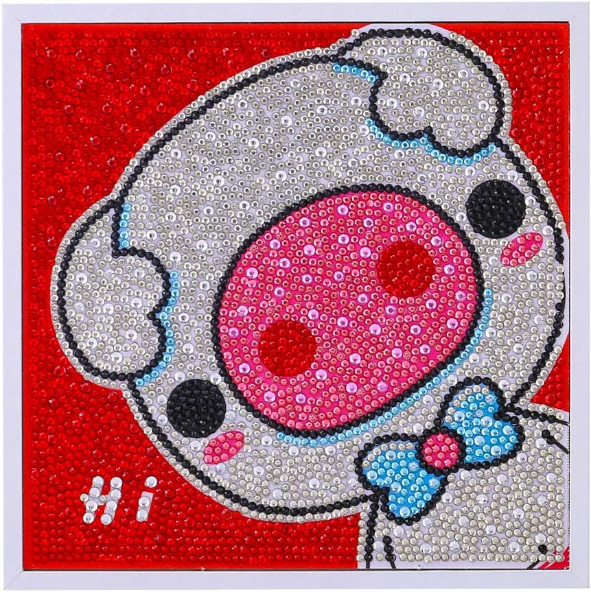 Pig Diamond Painting by Number Kits for Kids Crystal Rhinestone Diamond Embroidery Paintings Pictures Arts Craft with Framed 8x8