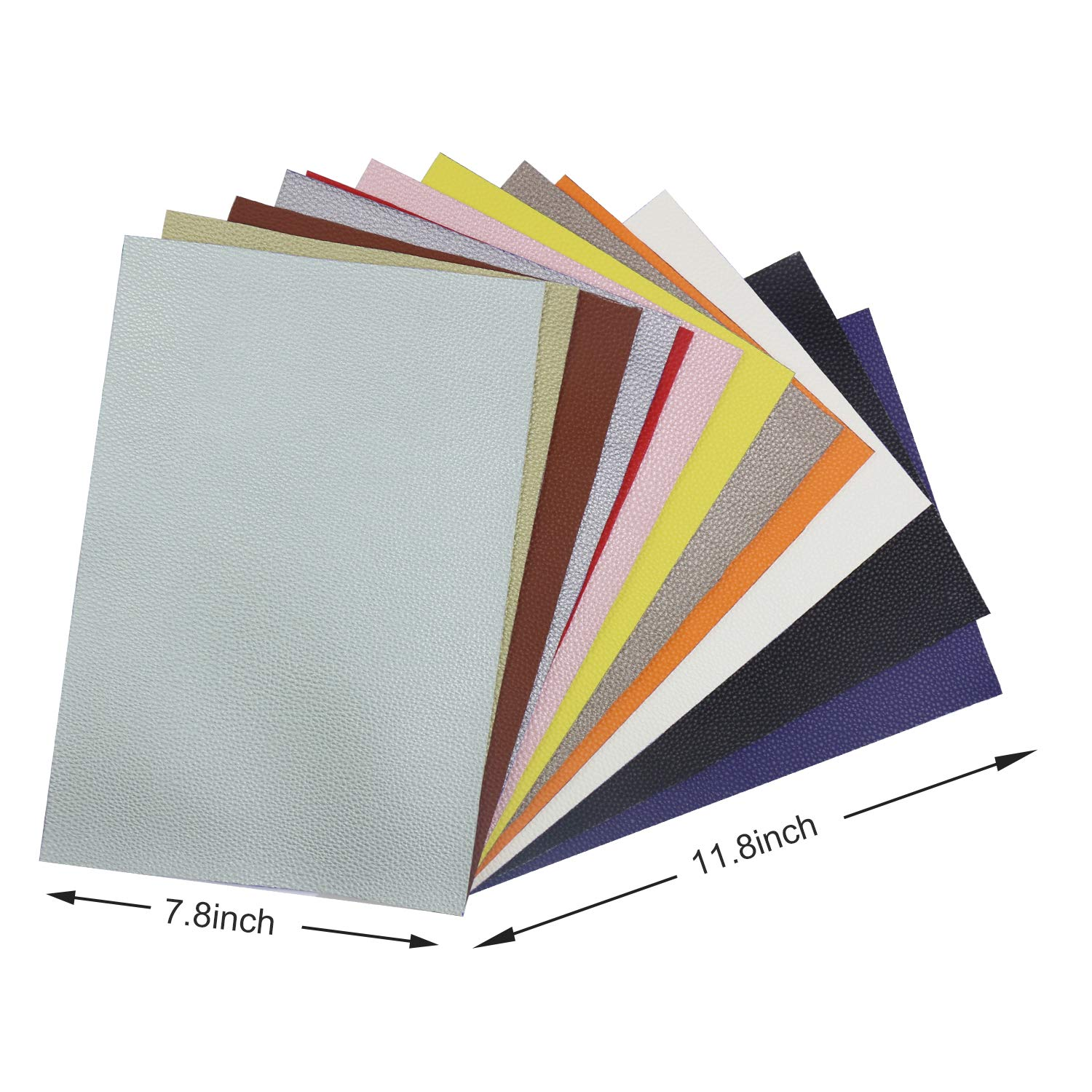 Litchi Faux Leather Sheets, SIMPZIA NO Odor 11.8'' x 7.8'' PU Synthetic Leather Cotton Backed, 1.2mm Easy Cut Fabric Leather with 12PCS Pearlized and Solid Colors for Earrings, DIY Craft Projects by SIMPZIA (Image #7)
