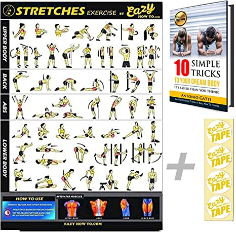 Eazy How To Póster elástico para ejercicios de entrenamiento, 51 x 73 cm, para aumentar la flexibilidad, perder músculos, prevenir lesiones en el ...