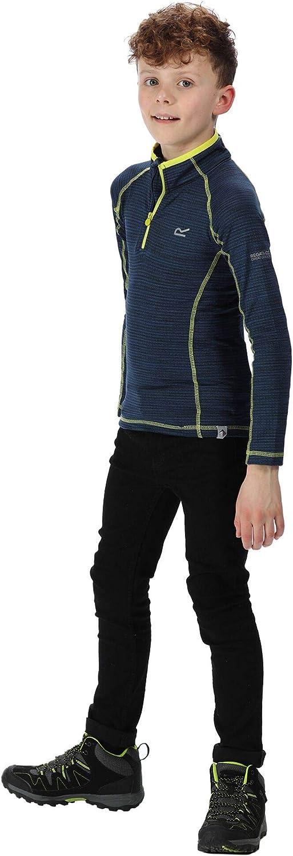 Regatta T Shirt Technique Manches Longues Junior Berley en M/élange de Laines M/érino /À S/échage Rapide avec Ouverture par 1//2 Zip Enfant