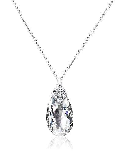 Elements Silver Women's 925 Sterling Silver Diamond Cut Cubic Zirconia Black Teardrop Pendant Curb Chain 03UkjJ