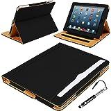 Madcase Apple iPad 4 / 3 / 2 Smart Case Etui Faux Ledertasche Hülle mit Auto Schalf und Wach Sleep-Funktion inkl. Displayschutzfolie und Stylus Touch stift - Schwarz / Beige