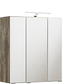 Held Möbel 003.1.0009 Capri Spiegelschrank, 3 Türen mit Spiegel, 6 Glaseinlegeböden, LED-Aufbauleuchte, 60 x 64 x 20 cm, Eich