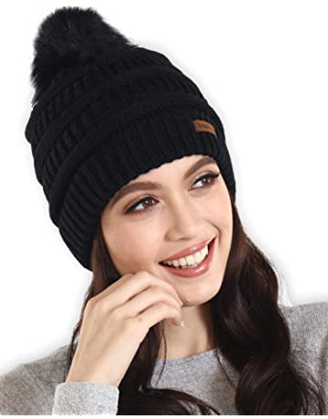 Brook + Bay Faux Fur Pom Pom Beanie - Stay Warm   Stylish - Thick e606782204c8